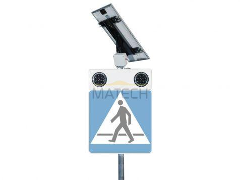 Aktywny znak D-6 bezpieczne przejście dla pieszych z panelem słonecznym