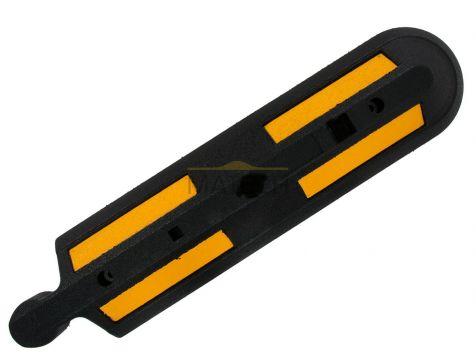 Gumowy separator drogowy - zakończenie czarne z żółtymi odblaskami