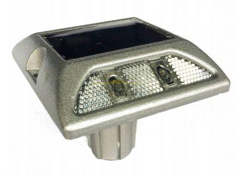 Punktowe aktywne elementy odblaskowe LED na trzpieniu - dwustronne biały/biały (najezdniowe PEO solarne)