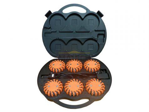 Flary ostrzegawcze LED pomarańczowe - walizka 6 szt. (światła ostrzegawcze LED)
