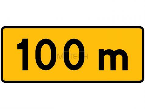 Tabliczka T-1: tabliczka wskazująca odległość znaku ostrzegawczego od miejsca niebezpiecznego - I generacja