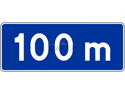 Znak T-1a: tabliczka wskazująca odległość znaku informacyjnego od początku (końca) drogi lub pasa ruchu - I generacja