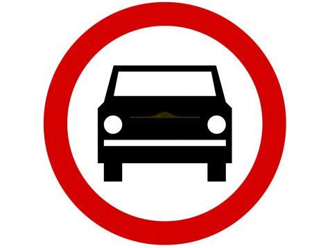 Znak B-3: zakaz wjazdu pojazdów silnikowych, z wyjątkiem motocykli jednośladowych - I generacja