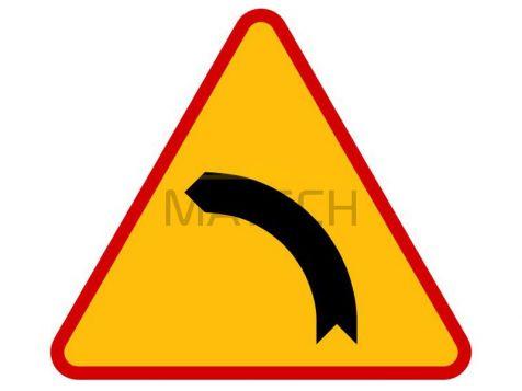 Znak A-2: Niebezpieczny zakręt w lewo - I generacja