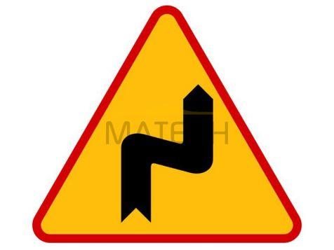 Znak A-3: Niebezpieczne zakręty - pierwszy w prawo - I generacja