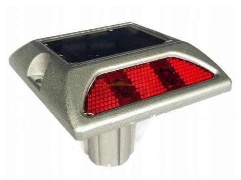 Punktowe aktywne elementy odblaskowe LED na trzpieniu - dwustronne czerwony/czerwony (najezdniowe PEO solarne)