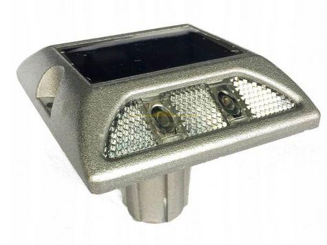 Punktowe aktywne elementy odblaskowe LED na trzpieniu - dwustronne biały/biały