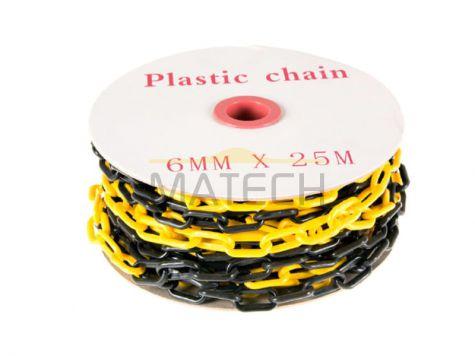 Lekki plastikowy żółto-czarny 6 mm łańcuch na 25 metrowej szpuli