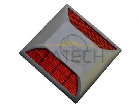 Punktowe najezdniowe elementy odblaskowe na trzpieniu czerwony/czerwony (PEO aluminiowe na trzpieniu mocującym)