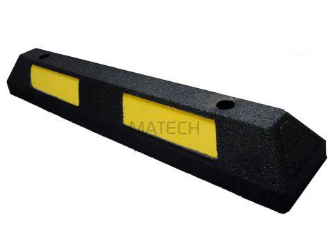 Separator parkingowy MINI guma -  87 cm czarny z żółtą taśmą odblaskową