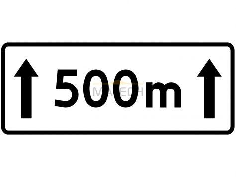Tabliczka T-20: tabliczka wskazująca długość odcinka jezdni, na którym zakaz obowiązuje - I generacja