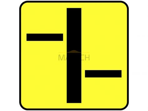 Tabliczka T-6b: tabliczka wskazująca układ dróg podporządkowanych (umieszczana na drodze z pierwszeństwem)