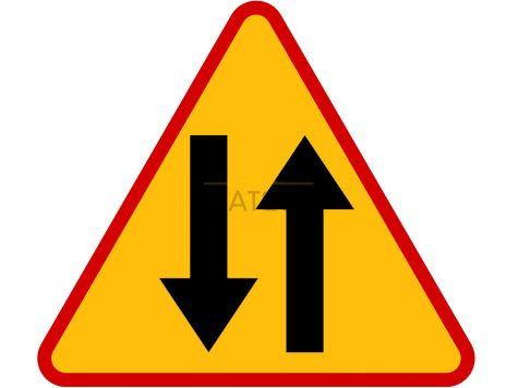Znak A-20: odcinek jezdni o ruchu dwukierunkowym - I generacja
